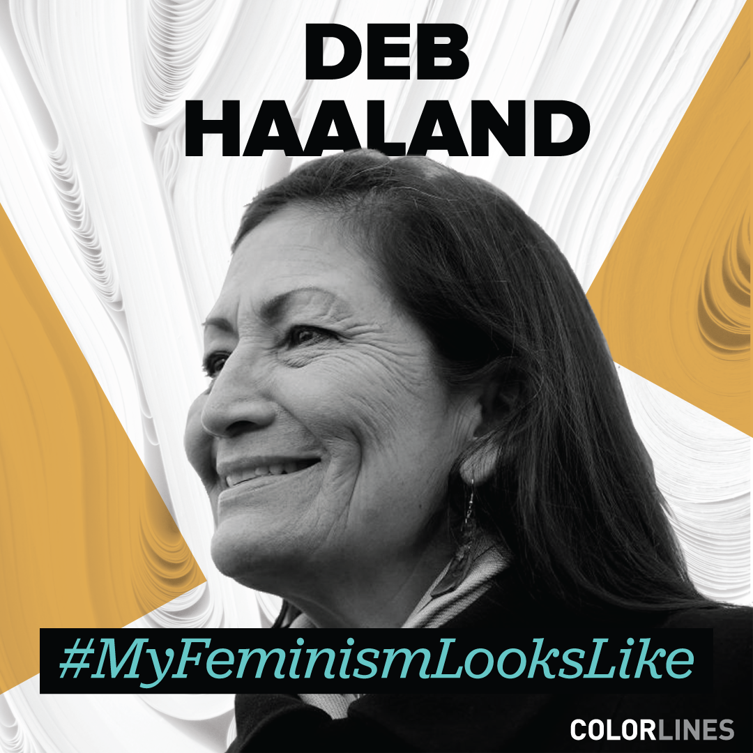photo of Rep. Deb Haaland on a gold and white background