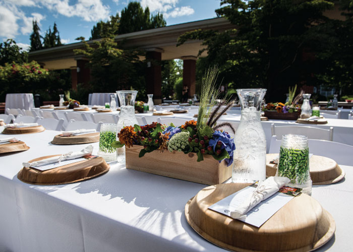 Photo of tables set for an outdoor event