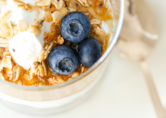 Close up photo of yogurt topped with granola and blueberries