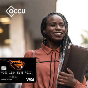 Beaver Card superimposed over a photo of a smilig person holding a padfolio