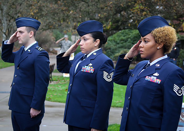 Photo of ROTC students standing at salute
