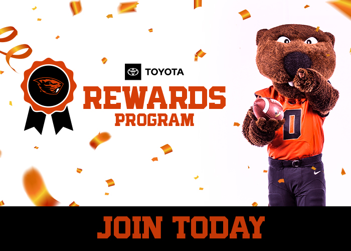 """Graphic of Benny holding football with confetti in background and Toyota logo and reads """"rewards program"""""""